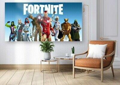 FORTNITE IRON MAN GAMING GAME WALL HANGING COVER ART DECO 30x20 Inch Canvas UK • 14.99£