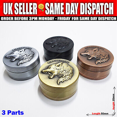 Wolf Face Metal Magnetic Shark Teeth Herb Spice Leaf Tobacco Grinder 50mm 3pc • 7.99£