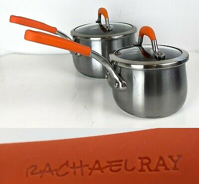 $ CDN49.98 • Buy Lot 4  Pcs Rachel Ray Stainless Steel 1.5&3Qt Saucepan Glass Lid Orange Magnetic