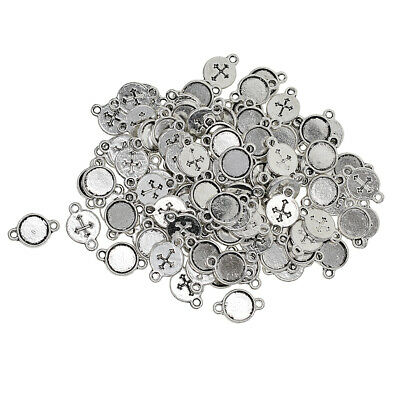 £5.37 • Buy 8mm Tray, Round Cabochon Mount, Connector Settings, Antique Silver, Cross Base,