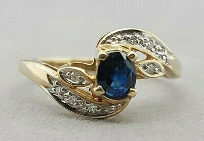 AU299 • Buy  Ring Natural Sapphire And Diamond 9ct Yellow Gold Preloved
