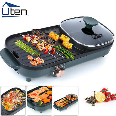 £36.99 • Buy UTEN 1500W Electric Grill Pan Hot Pot BBQ Cooker Portable In/Outdoor Camping