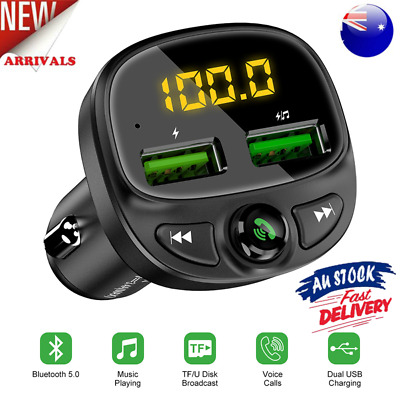 AU18.12 • Buy Bluetooth Car Phone Charger Transmitter FM Radio IPhone Android Wireless Adapter