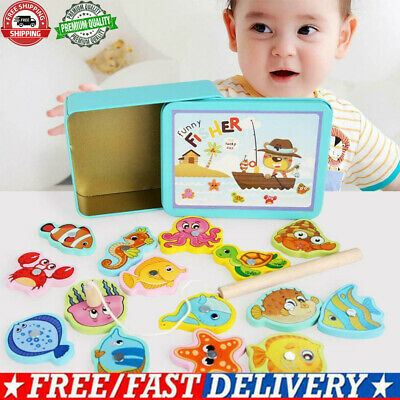 £4.82 • Buy Wooden Magnetic Fish Toys Kids Educational Fishing Magnet Puzzle Game Gifts Toy