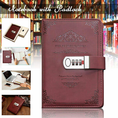 £11.89 • Buy Newest Notebook With Lock Diary PU Leather Password Book Diary Journal Lockable