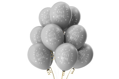 $5.63 • Buy Eid Mubarak Balloons (10 Pack) Eid Party Decorations - Helium Quality Silver MM