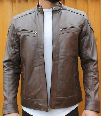 Men's Leather Biker Jacket, Sheep Skin Winter Protection, Genuine Leather • 90£
