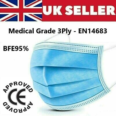 Disposable Face Masks Surgical 3 Ply Medical Grade Cover EN14683 Protection CE • 5.89£