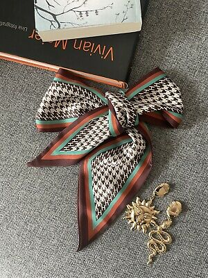 £9.99 • Buy Satin Silky Scarf Houndstooth Red Bow Neck Bag Headband Small Skinny Gift
