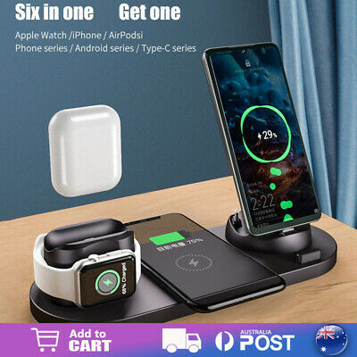 AU22.99 • Buy 6in1 Qi Wireless Charger Dock Charging Stand For IWatch IPhone Dock Station