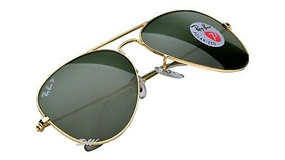 AU119.99 • Buy Ray-Ban Aviator Sunglasses Gold Metal Frames Polarized Green Lenses RB3025 58mm