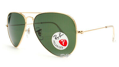 AU119.99 • Buy Ray-Ban Aviator Sunglasses Polarized Green Lenses Gold Metal Frames RB3025 58mm