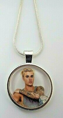 £6.99 • Buy Justin  Bieber  Singer Photo  Pendant Silver Chain Necklace Gift Box Birthday