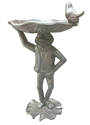 £29.95 • Buy Frog Toad Bird Bath Rustic Shabby Chic Antique Brown Cast Iron Metal Standing