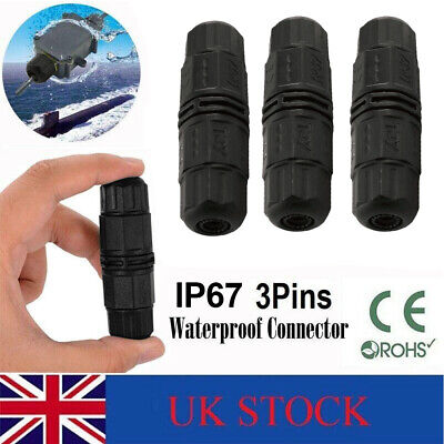 £3.99 • Buy 3 Pole Core Joint Outdoor IP67 Waterproof Electrical Cable Wire Connector UK