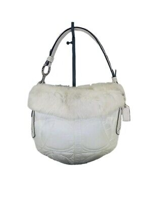$ CDN41.07 • Buy Coach 3586 Quilted Shoulder Handbag With Rabbit Fur Trim White With Dust Bag