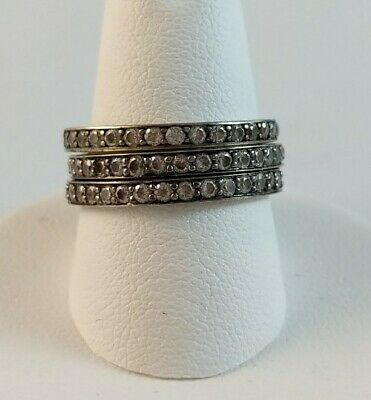 £14.52 • Buy Solid Sterling Silver Clear DQ CZ Stackable Ring Eternity Band Lot 3 SZ 8.25