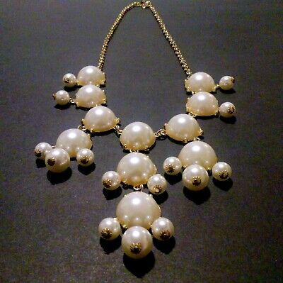 $11.99 • Buy Gold Tone Faux Mabe Pearl Bib Style Statement Necklace