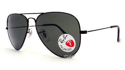 AU119.99 • Buy Ray-Ban Aviator Sunglasses Black Metal Frames Polarized Grey Lenses RB3025 58 Mm