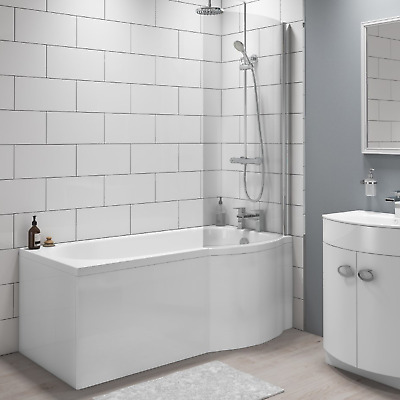 £254.96 • Buy Portland Right Hand P Shape Shower Bath With Front Panel - 1700 X 850mm
