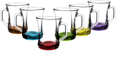 £11.99 • Buy LAV Coloured Set Of 6 Glasses Tea Coffee Cappuccino Cups HOT Drink Mugs,225cc