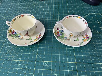 £60 • Buy Two-Piece Set Vintage Crown Staffordshire Hollyhocks Cup And Saucer