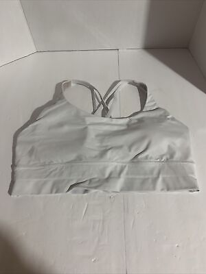 $ CDN52 • Buy Authentic LULULEMON  White Energy Bra Long Band Size 12  - Preowned