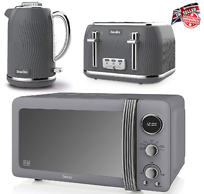 £214.99 • Buy Breville Electric Kettle 4-Slice Toaster & Swan Microwave Kitchen Set Grey NEW
