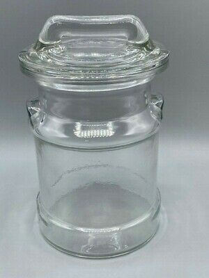 $22 • Buy Vintage 9  Clear Thick Glass Milk Can Cookie Jar/ Canister, Farmhouse Chic EUC