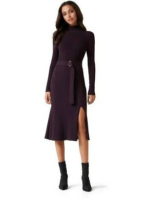 AU70 • Buy Forever New Rib Knit Midi Dress Purple With Belt Size 6 Great Condition