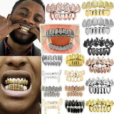 £3.10 • Buy Punk Unisex Gold Silver Grills Teeth Grillz Cap Tooth Iced Teeth Grill Jewelry
