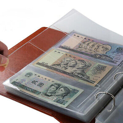 £5.97 • Buy 10Pcs Money Banknote Album Page Collecting Holder Sleeves 3-slot Loose Leaf