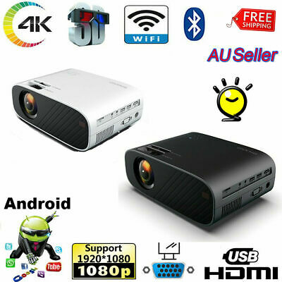 AU145.99 • Buy 4K 1080P HD Projector Android WiFi LED LCD Mini Video Theatre Home Cinema HDMI