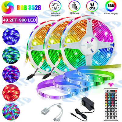 $11.89 • Buy 65.6FT LED Strip Lights TV Back Light 3528 RGB Colour Changing With 44Key Remote