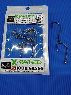 AU8.95 • Buy Gang Hooks Chemically Sharpened 3 X Strong Black 2x 6/0 3 Sets Per Pack