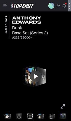 $500 • Buy NBA Top Shot Anthony Edwards Bass Set Series 2 Dunk Moment NFT Low #228/35000+