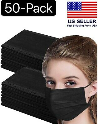 $6.89 • Buy 50 Pcs Black 3-Ply Face Mask Disposable Non Medical Surgical Earloop Mouth Cover