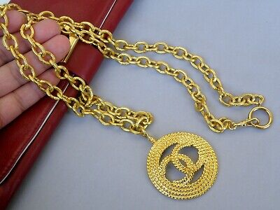 £849.59 • Buy Chanel Long Necklace Vintage With Large Logo Pendant