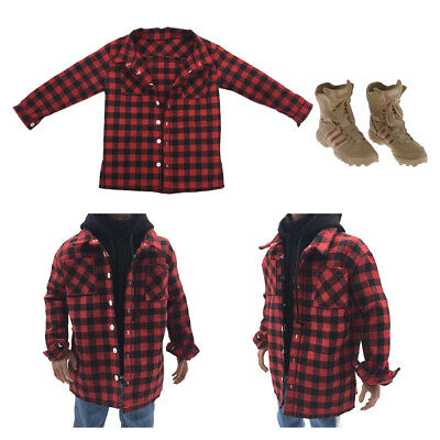 $18.45 • Buy 1/6 Red Plaid Shirt & Combat Boots Shoes For 12'' Enterbay DML Body Dress Up