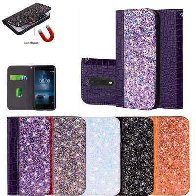 AU9.99 • Buy For Nokia 5/6/7/7Plus/8 Wallet Flip Case Leather Magnetic Card Slots Case Cover