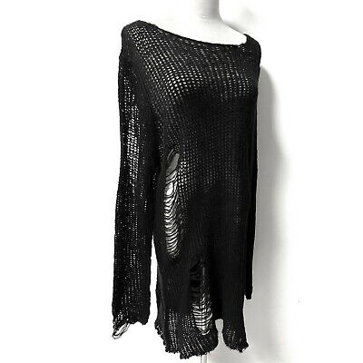 £25 • Buy Goth Rock Punk Torn Hollow Out Hole Tear Long Sweater Knitted Skirt.