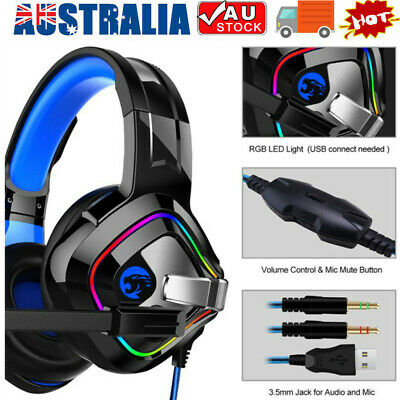 AU16.28 • Buy 3.5mm Gaming Headset MIC RGB Headphones Surround For PC Mac Laptop PS4 Xbox One