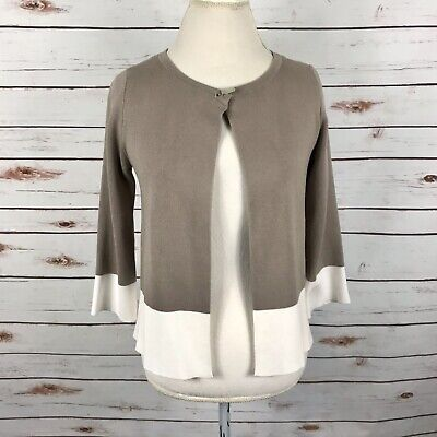 £14.51 • Buy Bianca Open Cardigan Sweater Taupe Ivory Colorblock Knit Shrug 3/4 Slvs Size 6