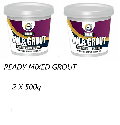 £6.99 • Buy 2 X Waterproof Tile Adhesive Bond It Fix And Grout Ready Mixed Grout White 500g