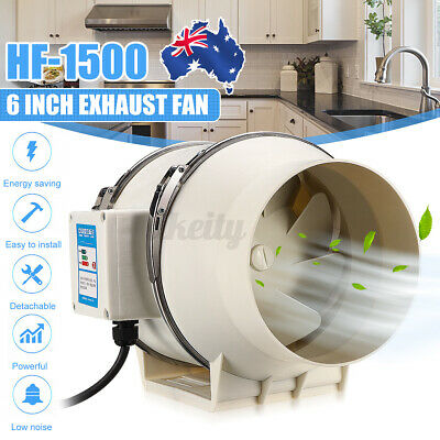AU45.99 • Buy 6  Hydroponic Inline Exhaust Industrial Vent Ilent Fan Extractor Duct Kitchen