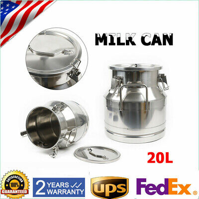 $92.02 • Buy 20L Milk Can Stainless Steel Wine Pail Bucket Tote Jug Oil Barrel Canister HOT!