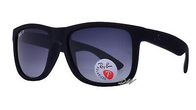 AU99.99 • Buy Ray-Ban Justin Sunglasses Polarized Grey Grad Lenses Black Frames RB 4165 54 Mm