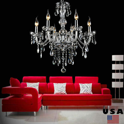 £54.62 • Buy Clear Crystal Chandelier 6 Arm Chrome Ceiling Lights Candle Pendant Lamp E14
