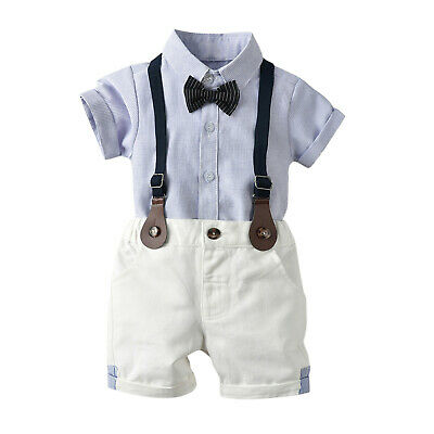 £11.18 • Buy Toddler Baby Boy Gentleman Outfits Bow Tie Striped Shirt Tops Suspender Shorts