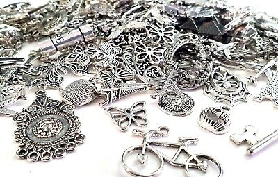 40g Silver Assorted Pendant Charm Mix Jewellery Making Crafting Silver Charms  • 3.20£